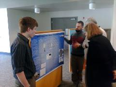 Students Adam Langenstein and Matthew Vinson present their undergraduate chemistry research project 'Synthesis of silver nanoparticles and nanoclusters for use as antimicrobial agents' at the Oregon Tech project symposium in May 2014.