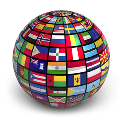 globe wrapped in world flags