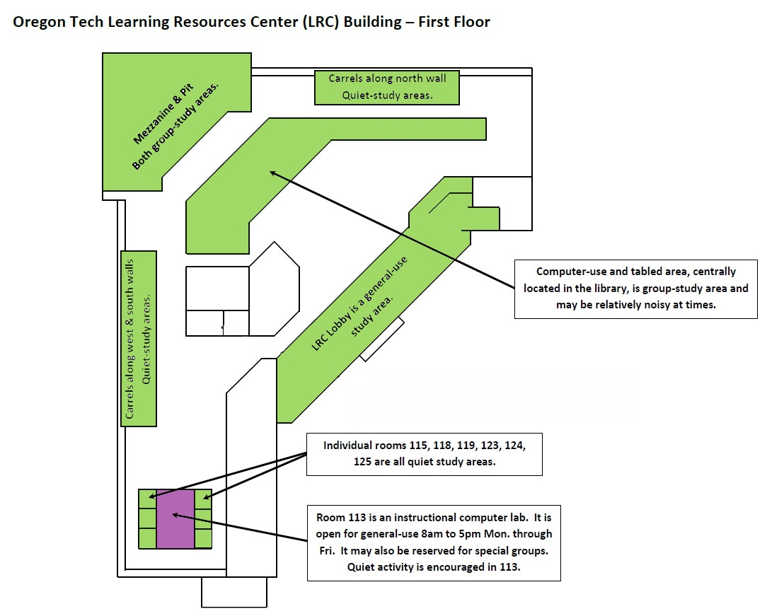 map of study spaces on the first floor of the LRC