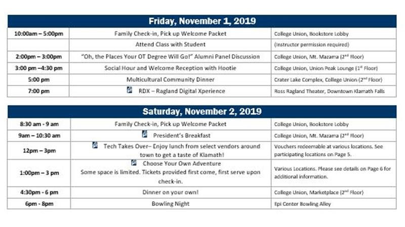 2019 Fam Alum Wkend Schedule