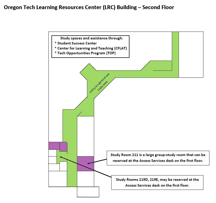 map of study spaces on the second floor of the LRC