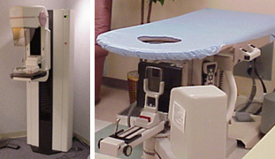 dedicated mammography unit (left) and stereotactic breast biopsy machine (right)