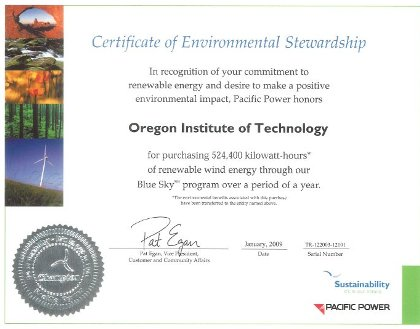 Pacific Power Certificate of Environmental Stewardship